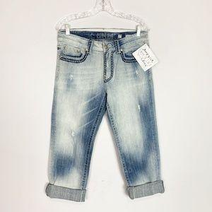 MISS ME cuffed light wash boyfriend jeans size 27